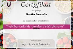 Certyfikat uczestnictwa - wybiórcze jedzenie - problem o wielu obliczach