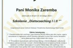 Certyfikat - szkolenie Dietocoaching I, II