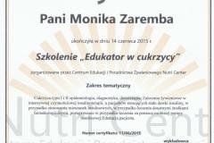 """Certyfikat - szkolenie """"Edukator w cukrzycy"""""""