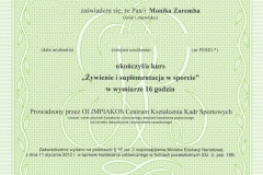 """Dyplom - """"Żywienie i suplementacja w sporcie"""""""