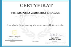 Monika Zaremba - certyfikat - oswajanie jako ważny element terapii karmienia