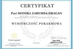 Monika Zaremba - certyfikat - szkolenie - wybiórczość pokarmowa