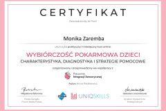 Monika Zaremba - certyfikat - wybiórczość pokarmowa u dzieci