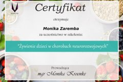 Monika Zaremba - certyfikat - żywienie dzieci w chorobach neurorozwojowych